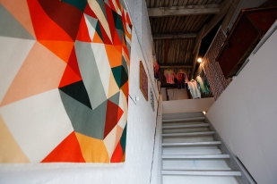 Suzanne Antonelli (foreground) and installation view of the stairs